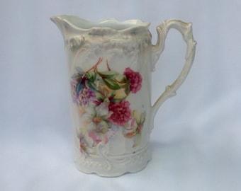 Vintage Three Crown Germany Pitcher Flower Bouquet Pink Purple Ornate Porcelain