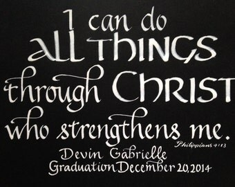 Graduation Gift,  Confirmation Gift, Custom Handwritten Calligraphy with Name and Date, 9 x 12 inches heavy black or other color paper
