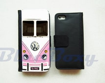 Mini Bus Pink Wallet Case - iPhone 6 Case, iPhone 6s, iPhone 6 Plus, iPhone 5, iPhone 5s, iPhone 4, iPhone 4s, Leather Case, Flip Case