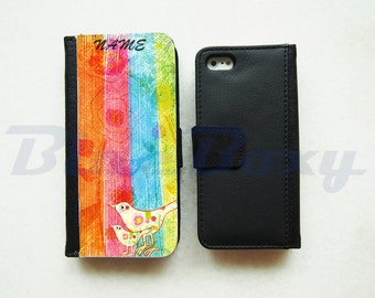 Color Stripes Painting with Birds - iPhone 7, iPhone 6, iPhone 6s, iPhone 6 Plus, iPhone 5/5s, iPhone 4/4s, Leather Wallet Case, Flip Case