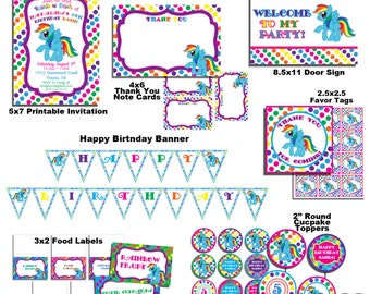 Rainbow Dash Party Pack - Invitation, Banner, Favor Tags, Door Sign, Food Labels, Cupcake Toppers and more!