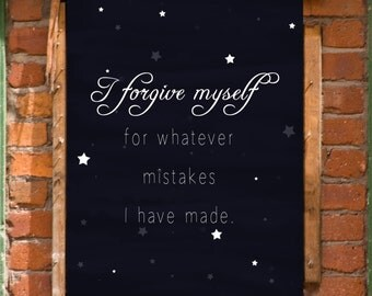 Forgive Yourself Recovery Affirmation Art Print Printable Wall Decor INSTANT DOWNLOAD
