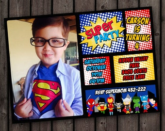 superhero invitations, FAST ship, free customized wording included, same day customized on weekdays, superhero birthday invitation
