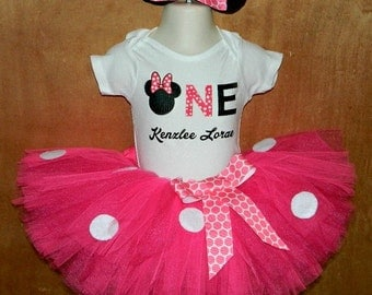 Hot Pink Minnie Mouse Tutu Skirt with Printed Tee and Matching Minnie Ears for Baby Showers Birthdays, Pageants, Photos
