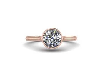 Rose Gold / Moissanite Engagement Ring / Promise Ring / Bezel Set 14K Rose Gold Solitaire Ring / Re00147w