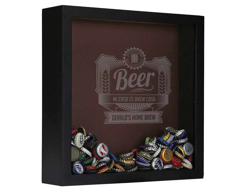 Personalized beer cap shadow box brew casa beer cap shadow for Craft beer typography beer cap shadow box beer cap collector