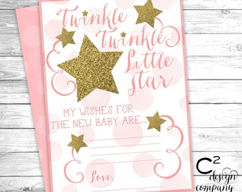 INSTANT DOWNLOAD: Twinkle Twinkle Little Star Wishes For Baby Card