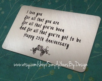 Silver Wedding Anniversary Gift For Man : ... Anniversary Gift - Gift for Him - Personalized Mens Valentines ...