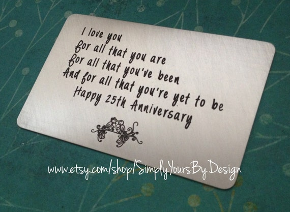 Silver Wedding Anniversary Gifts For Him: Items Similar To Sterling Silver Wallet Card