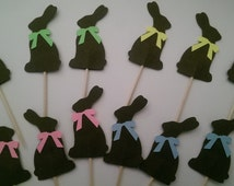 12 Chocolate Bunny, Rabbit Party Easter Picks - Cupcake Topper - Toothpicks - Food Picks Die Cut Punch Cardstock