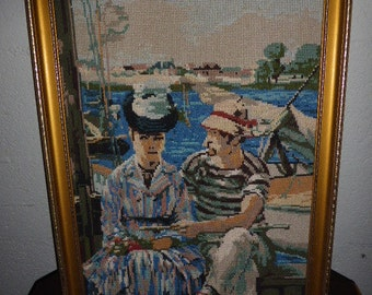 CANVAS RENOIR les CANOTIERS completed embroidered tapestry, vintage 1970s, handmade