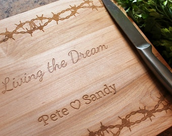 Personalized cutting board -  Engraved Cutting Board - Barbed Wire Board - Country Wedding - Anniversary Gift - Housewarming - Barbed Wire -