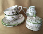 Asian Tea Set, Glazed Terracotta, Vintage Pottery, Hand Painted, White and Green, Floral Tea Service, Chinoiserie Style, Shabby style decor