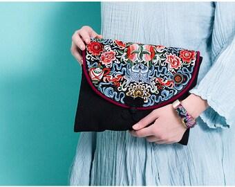 Miya's Original Ethnic Hmong Embroidered iPad Handbag - Blue Jade