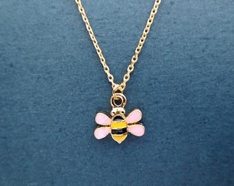 Tiny, Cute, Honeybee, Gold, Necklace
