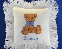 Precious Moments Bear Keepsake Pillow, Hand Cross Stitched & Personalized with Baby's Name and Birth Date, Newborn Gift or Nursery Decor