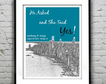 Chicago Illinois Engagement Poster Print -City Skyline Illinois IL