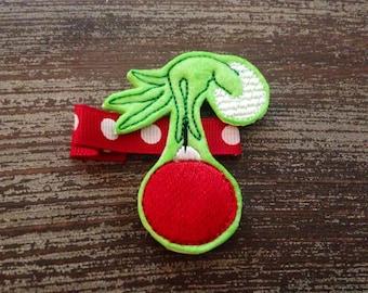 Grinch Hair Clip - Christmas Hair Clip -  Holiday Hair Clip - Holiday Bow - Festive Bow - Nice Bow - Naughty Bow - Christmas Chevron Bow