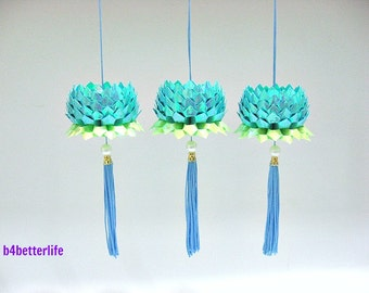 3pcs Small size Light Blue Color Origami Hanging Lotus. (AV Paper Series). #FLT-05.