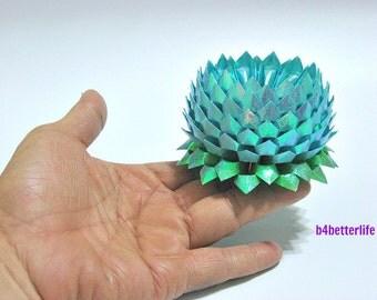 A Piece of Large Size Light Blue Color Origami Lotus. 132 Petals. (TX paper series).