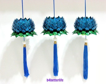 Lot of 3pcs Small size Blue Color Origami Hanging Lotus. (4D Glittering Paper Series). #FLT-71.