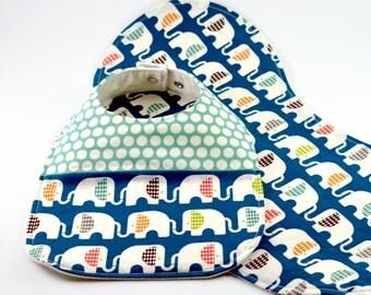 Organic Baby Bib & Burp Cloth Set - Drool Proof! - Blue Elephants, Blue Dots