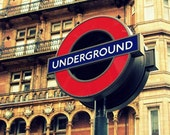 London Photography / London Underground Sign Print / Travel Photograph / Red / Blue / Home Decor / fpoe / England / Urban / The Tube