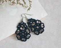Blue lace earrings Flowers, denim blue tatted earrings, tatting lace, tatted jewelry.