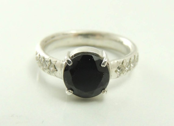 yx ring with zircons yx engagement ring Black by ShemiJewelry