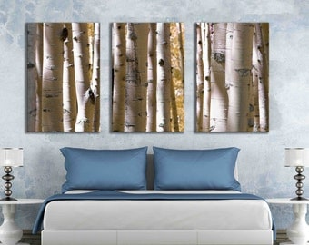 Large gallery wrapped aspen canvas print yellow 16 x 24 or 12 x 18 inch huge nature wall print  forest tree wall decal print home decor
