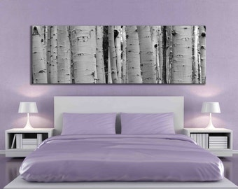 Oblong rectangle canvas print black and white aspen tree forest nature home decor living room decal panoramic 12 x 36 or 20 x 60 inch photo