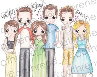 Hand-drawn Youtuber couples A4 poster (Zalfie- Zoella, Alfie Deyes, Janya- Jim Chapman, Tanya Burr, Narcus- Niomi Smart, Marcus Butler)