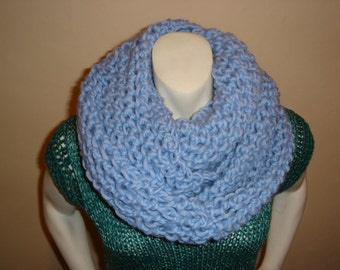 SALE HANDKNIT CHUNKY Cowl Scarf, Hand knit light blue wool infinitey scarf. Price reduced.
