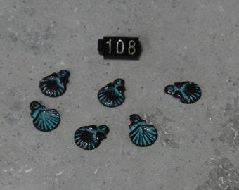 6 Scallop Sea Shell Charm  #108