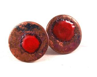copper enamel round ear studs, Red Splat Copper and Enamel Ear studs #0084
