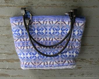 Delft Tote--medieval tile design--handknit felted tapestry bag-handmade leather handles--blues purples--moire lining--pocket & zipper pocket