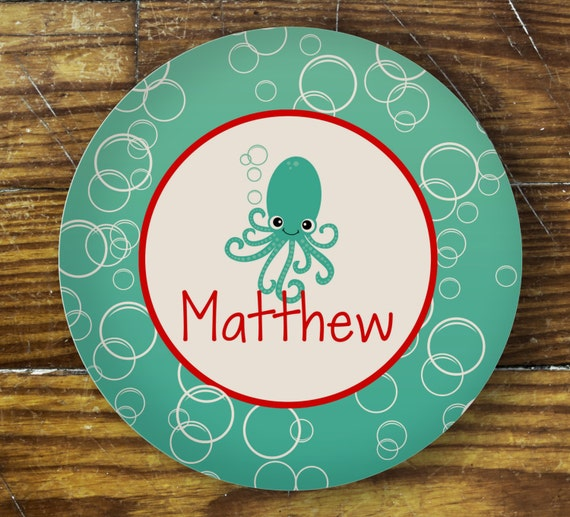 Personalized Dinner Plate or Bowl - Octopus