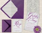 PRINTED Wedding Invitations in Purple & Grey Damasks / Plum Wedding Invitation w/ RSVP Cards / Damask Weddings / Grey Stripe Envelope Liner