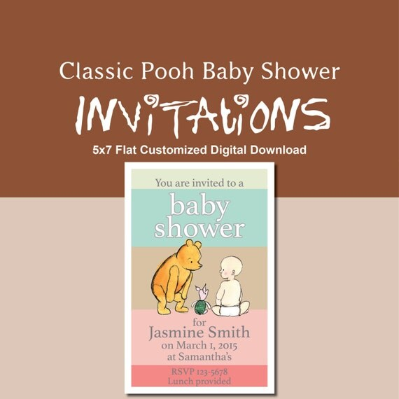similar to classic winnie the pooh baby shower invitation on etsy