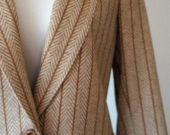 SALE Vintage Cream, Tan, Brown Herringbone Wool Blend Blazer