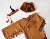 Girls Native American Indian Costume, Pocahontas Tunic and Legwarmers for Halloween, Carnival or Dress-up