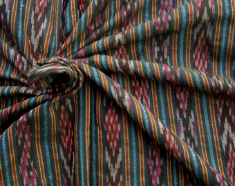 Handwoven 100% Cotton. Chaiyapum stripe. Black, blue and red. 1.8 metres/ 2 yards