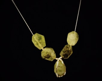 One of a kind sterling silver with beautiful bright green prehnite necklace