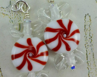 Red Peppermint Candy Earrings