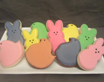 PEEPS Decorated Sugar Cookies, Easter Chicks and Bunnies