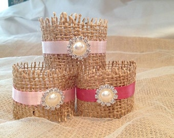 Pink Wedding Napkin Rings, Wedding Table Decor, Rustic Napkin Holders for Weddings, Bridal Showers, Rehearsal Dinners - Set of 25