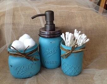 Hand Painted Turquoise Bahama Blue  Mason Jar Bathroom Set with Bronze Soap Dispenser and Raffia Bows - Bathroom Decor