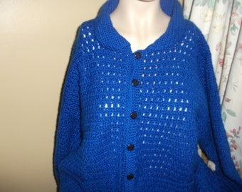 Royal Blue Cardigan Crochet