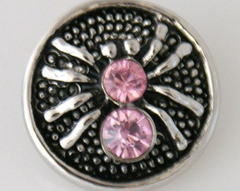 KB7532  Love! Silver Spider Snap with Two Large Pink Crystals set on Black Enamel