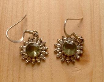 Green amethyst earrings, sterling silver earrings, green amethyst, flower earrings, flower green amethyst, for her